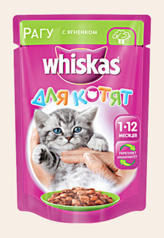 Корм д/котят whiskas 85г рагу ягненок