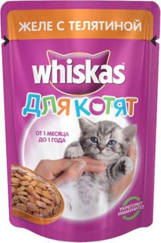 Корм д/котят whiskas 85г желе телятина