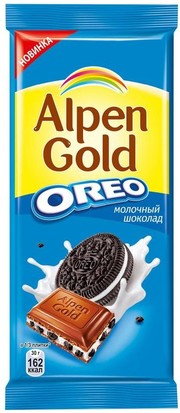 Шок alpen gold 95г молочный с печеньем орео
